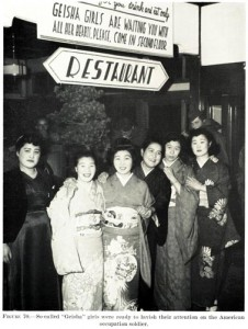 """Geisha Girls"" stand outside a local restaurant ready to entertain US forces"